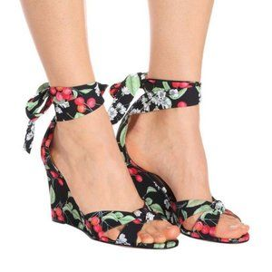 Aquazzura All Tied Up Wedge in Cherry Blossom BNIB